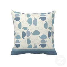Whale Tale Throw Pillows Designed by Sweet Rascal