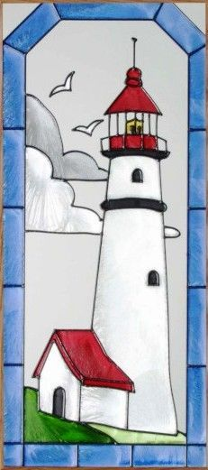 Lighthouse Stained Glass Panel 4 Frame Choices 9 x 20 (SC014)...