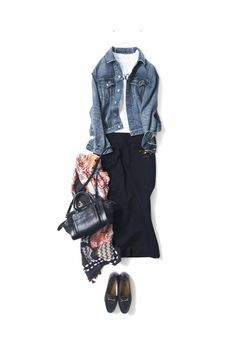 Wide-pant + graphic t + jean jacket + scarf 60 Fashion, Denim Fashion, Daily Fashion, Fashion Looks, Fashion Outfits, Womens Fashion, Simple Outfits, Casual Outfits, Looks Style