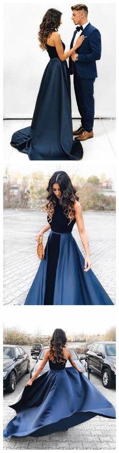 New Arrival Navy Blue Long Velvet Prom Dress,Sleeveless Evening Dresses,Open Back Prom Dress   G376