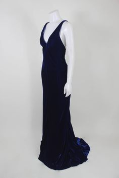 Jacqueline De Ribes Stunning Midnight Blue Velvet Evening Gown
