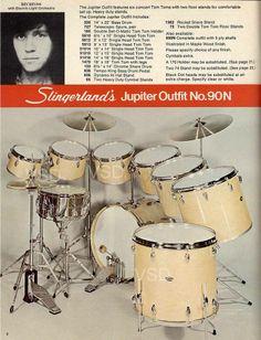 From 1977-1978 Slingerland Drum Catalog: Jupiter Outfit w/ drummer Bev Bevan (ELO) Ver traducción