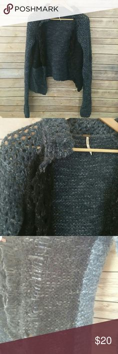 Free People blue & black knit open front cardigan Pre-owned with some fuzzies and fabric pills from normal wear. Open front with frayed edges. Acrylic wool blend. Free People Sweaters Cardigans