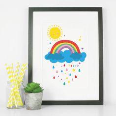 Rainbow And Sunshine Bright Nursery Art Print
