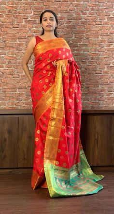 Indian Gowns Dresses, Indian Fashion Dresses, Saree Fashion, Indian Bridal Sarees, Indian Bridal Outfits, Half Saree Designs, Silk Saree Blouse Designs, Bridal Blouse Designs, Sari Blouse