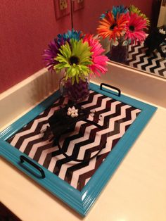 Tray made from old picture frame. Chevron fabric, spray paint and drawer pulls! Easy!!