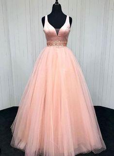 """promdress-lovedress: """" pink v neck long prom dress shop here """""""