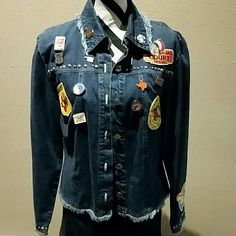 Fun Double D denim patch jkt Fringed hem, sleeves and collar.  Silver studded trim on yoke & sleeves, patches and button flaire Double D Ranchwear Jackets & Coats Jean Jackets
