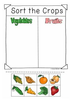 Sort the Crops from a Farm into two groups vegetables or Fruits. This is part of a Community Helpers Unit: We are Farmers. 100 pages.The Education Highway