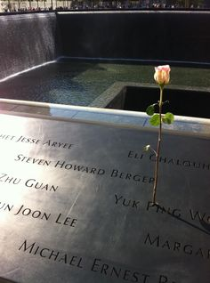 The names at the Ground Zero Memorial are etched into the stone and families come to place flowers in the names. We met many of those families on our trip. Imagine complete silence except for the sound of waterfalls pouring into the crevasse.