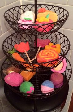 Using a fruit basket to hold my lush bath bombs :)