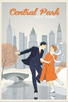 illustration of Vintage travel poster. New York, Central Park, Cityscape, High rise buildings, snow, winter, skate, dance, couple, retro,