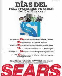 0d4975d9e Días del tarjetahabiente Sears Mayo. Promocion Descuentos