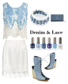 """denim and lace"" by im-karla-with-a-k on Polyvore featuring Sans Souci, Zizzi, Rebecca Minkoff and Yves Saint Laurent"