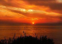 Wschód, Słońca, Lato, Ocean, Niebo, Chmury