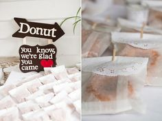Donuts for wedding reception dessert / favors Wedding Prep, Diy Wedding, Wedding Reception, Wedding Ideas, Bridal Shower Favors, Party Favors, Wedding Donuts, Wedding Colors, Real Weddings
