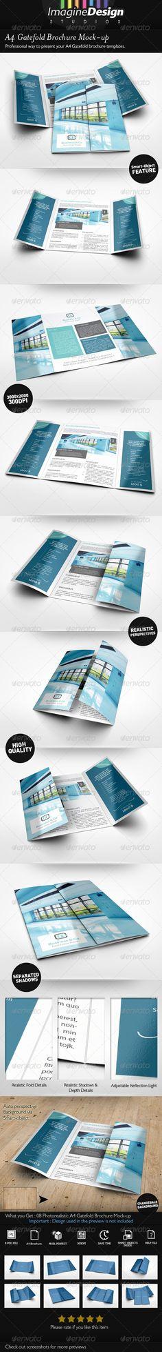 Magazine \/ Brochure \/ Catalog Mock-Up Brochures, Catalog cover - gate fold brochure mockup