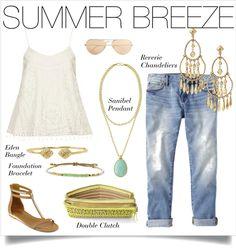 Gold, white & denim SCREAM casual summer chic.  Shop these accessories at www.stelladot.com/nicolecordova