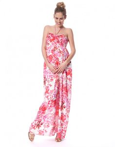 Casual and Elegant Pink Floral Printed Maternity Maxi Dress