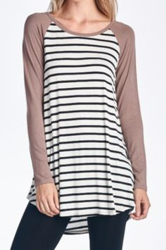 Solid Sleeve with Stripes
