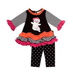 Product: Rare Editions® Baby Girls' Black/Orange 2-pc. Ghost Set