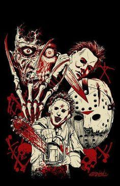 Horror Icons ~ Freddy Krueger, Michael Myers, Leatherface & Jason Voorhees