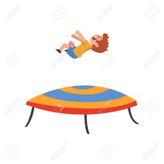 Cute Happy Boy Jumping on Trampoline, Smiling Little Kid Bouncing and Having Fun Cartoon Vector Illustration on White Background. Happy Boy, Acrylic Canvas, Cool Cartoons, Things That Bounce, Have Fun, Layout, Boys, Illustration, Cute