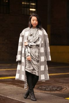 Margaret Zhang in nearly 50 shades of gray. #nyfw #streetstyle