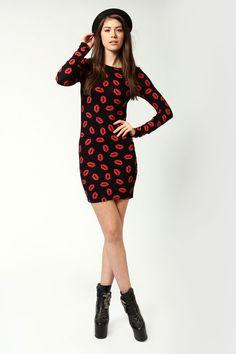 Lilly Lip Print Long Sleeve Bodycon Dress