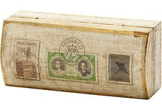"""Hand-painted box with stamps on the lid; 6""""L x 2.75""""W x 2.25""""H"""