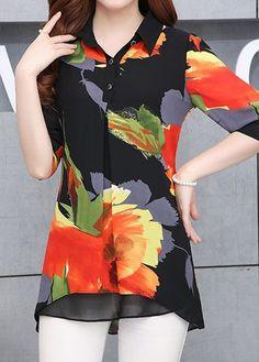Asymmetric Hem Long Sleeve Button Closure Shirt on sale only US$32.06 now, buy cheap Asymmetric Hem Long Sleeve Button Closure Shirt at liligal.com