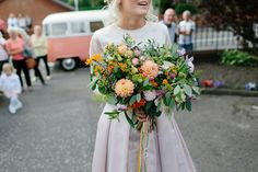 A Pale Pink Wedding Skirt for a Fun and Colourful Scottish Chapel Wedding