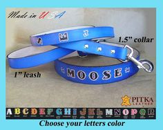 Blue Dog Leash Collar Set - Blue Leather Custom Collar - Dog Collars for Big…