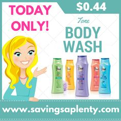 Tone Body Wash ONLY $0.44! TODAY ONLY   Tone Body Wash ONLY $0.44! TODAY ONLY Hurry on over to Target today and grab Tone Body wash for ONLY $0.44! This deal is only for today so don't miss out!  Check out the deal:  Buy (4) Tone Body Wash 16 oz. for $2.99 each Buy four, receive $5.00 Target Gift Card through 9/10 Use 10% off... http://www.savingsaplenty.com/tone-body-wash/