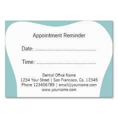 Dentist appointment reminder cards | dental office large business cards (Pack of 100)
