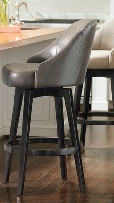 Kitchen Island Stools With Backs, Grey Bar Stools, Modern Counter Stools, Bar Stools With Backs, Swivel Counter Stools, Leather Bar Stools, Counter Height Bar Stools, Kitchen Redo, Kitchen Remodel
