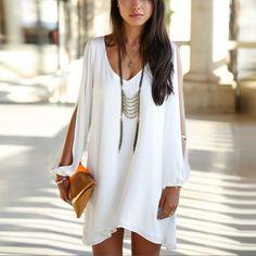 V-neck Bear Shoulder Loose Chiffon Short Dress