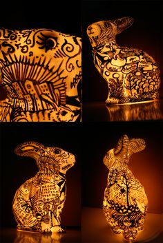 handmadepainted rabbit lamp ornament - how nice, can't believe I haven't seen this done before!