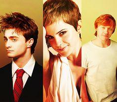 Daniel Radcliffe, Emma Watson, & Rupert Grint. what a trio!