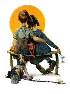 """""""Little Spooners"""" or """"Sunset"""", April 24,1926 by Norman Rockwell.  Giclee print from Art.com."""