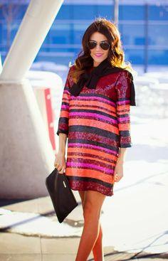 Stripe Sequin - Maternity Dress, Handbag