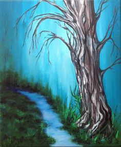 Fantasy Tree - acrylic on canvas. See more at https://www.artfinder.com/tina-hiles