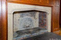 Paneled wall with Tudor arch fireplace - Oakbourne Mansion, Westtown, PA - photo by Abandoned Steve