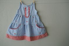 5e3fc8f3c54 Vintage Baby Girl Dress - Baby Girl Dress - Baby Dress - Blue   Red Gingham  Dress with Embroidered Cherries - Size 12 Months by NellsNiche on Etsy