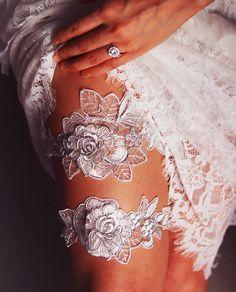 Bridal Garter Set Wedding Garters - Keepsake Garter Toss Garter - Prom Garter - Silver Ivory Embroidery Lace Garter