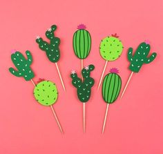 Cactus Party Cupcake Toppers / Various Options / Fiesta / Birthday / Brewing . - Cactus Party Cupcake Toppers / Various Options / Fiesta / Birthday / Bridal Shower & Bachelorette / - Cupcake Party, Wedding Cupcakes Fondant, Wedding Shower Cupcakes, Wedding Cakes, Valentine Cupcakes, Rose Cupcake, Pink Cupcakes, Cupcake Cakes, Fiesta Theme Party