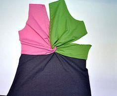 Konstikkaan solmun kiepauttaminen onnistuu helposti seuraavan kuvasarjan avulla. Kuvissa vaaleanpunainen = oikea etukappale, vihreä = vasen...