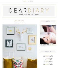 "Blogger Template Blog Theme ""Dear Diary"" // Simple Blog Theme // Gray Gold Black// Blogger // Pre-made Blog"