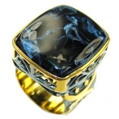 Very Stabilizing And Grounding! Black Hawks Eye, Gold Plated, Rhodium Plated Sterling Silver ring s. 8 1/4