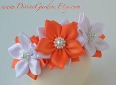 Handmade Kanzashi Satin Headband White and Orange by DivineGarden, $17.99